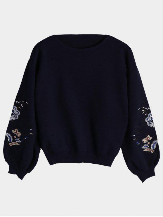 Sweat Brodé à Fleurs et Feuilles Manches Lanterne - Bleu Violet TAILLE MOYENNE
