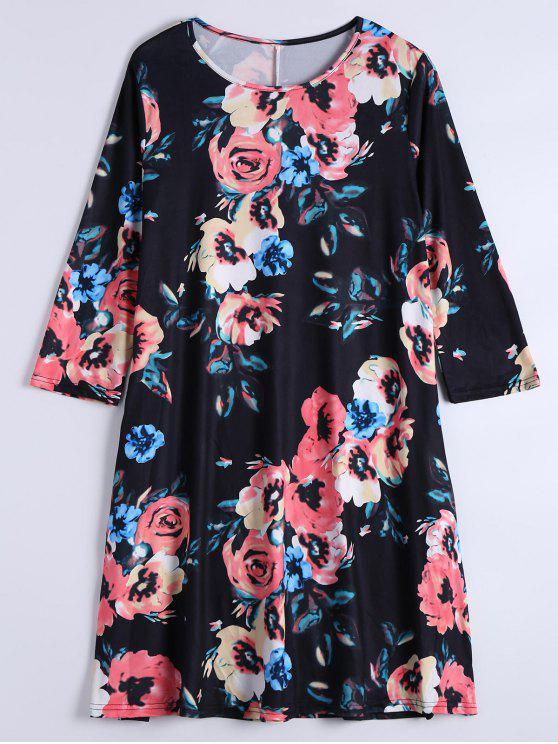 Vestido de manga longa com mangas florais com bolsos - Preto L