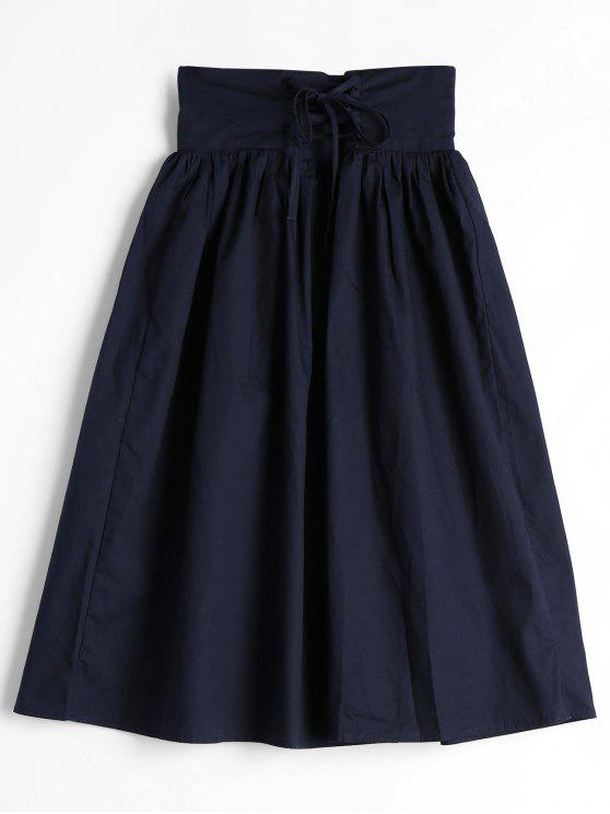 Lace Up Alta Cintura Una falda de línea - Azul Purpúreo L