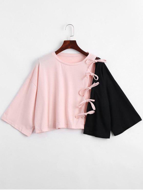 Camiseta asimétrica del dobladillo del lazo - Negro y rosa XL