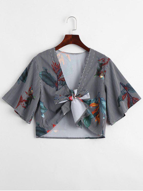 Plunging cuello floral con rayas blusa con cinturón - Raya XL