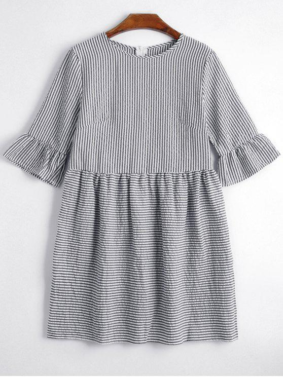 fashion Round Collar Striped Dress - BLACK S