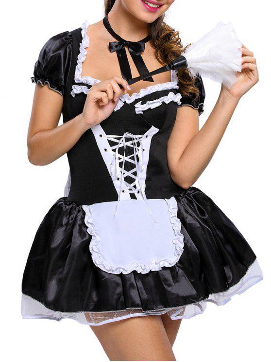تكدرت الساتان خادمة تأثيري حلي - أسود مقاس واحد