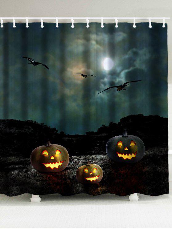Halloween Night Bats Pattern Waterproof Shower Curtain Black Curtains W79 Inch L71 Inch Zaful