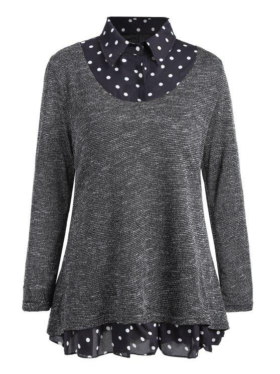 f5ff69bd5b3 2018 Plus Size Polka Dot Overlay Knit Top In GRAY 3XL