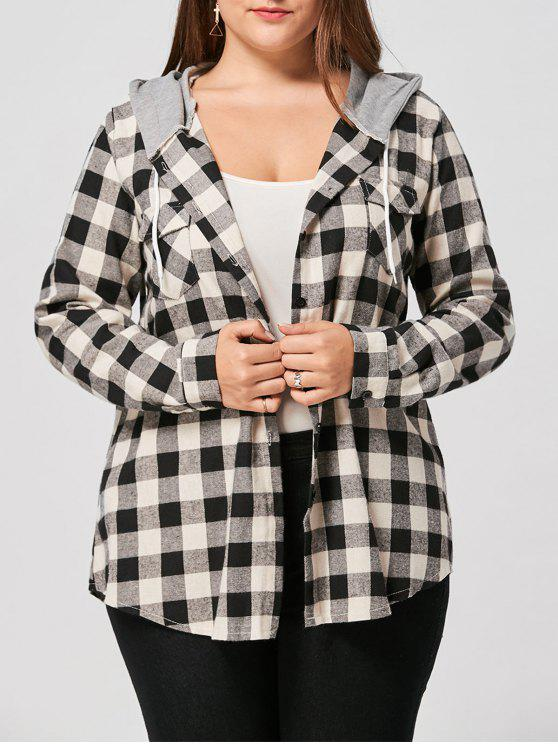 hot Plus Size Flap Pockets Plaid Shirt Hoodie - COLORMIX 5XL