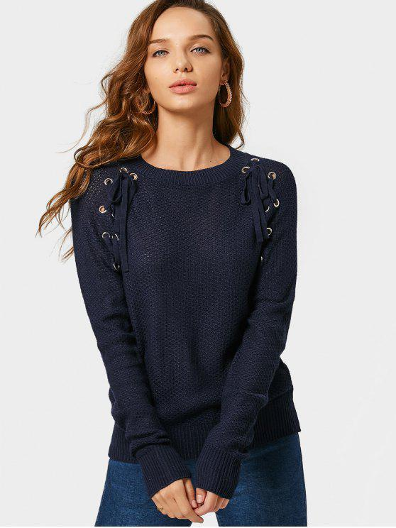 women's Loose Lace Up Sheer Sweater - PURPLISH BLUE M