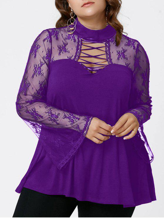fancy Plus Size Flare Sleeve Criss Cross See Thru Blouse - PURPLE XL