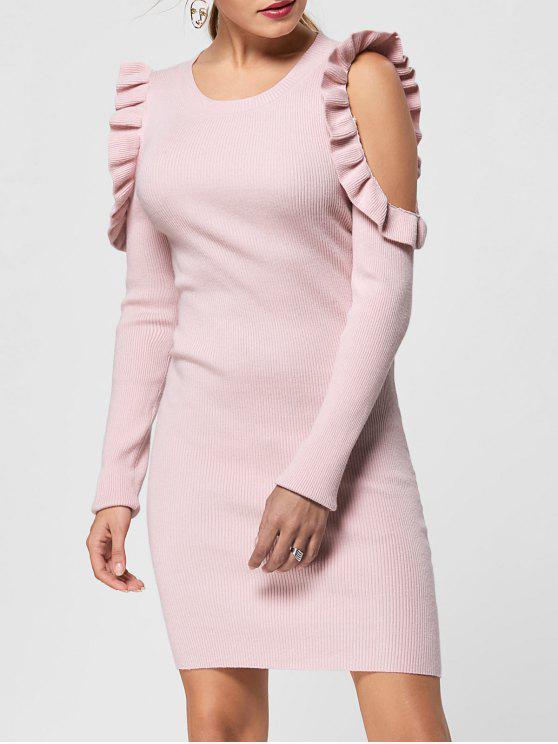 Pullover Kleid mit Rüschen Trimmung und Kalter Schulter - Helles Rosa M