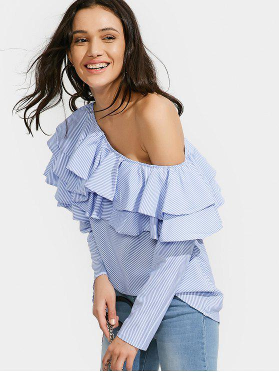 trendy Skew Collar Ruffle Stripe Top - STRIPE S