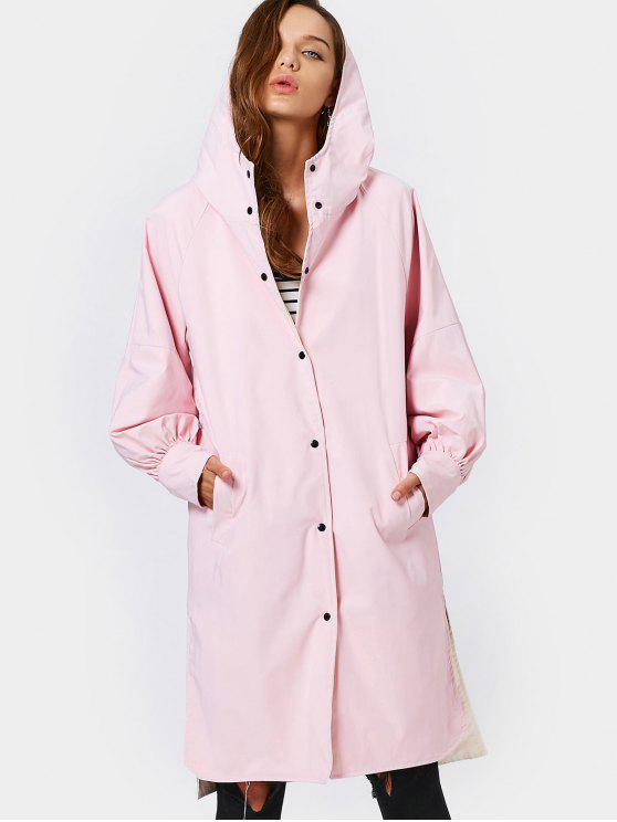 Hooded Button Up Double Side Trench Coat - Pink S