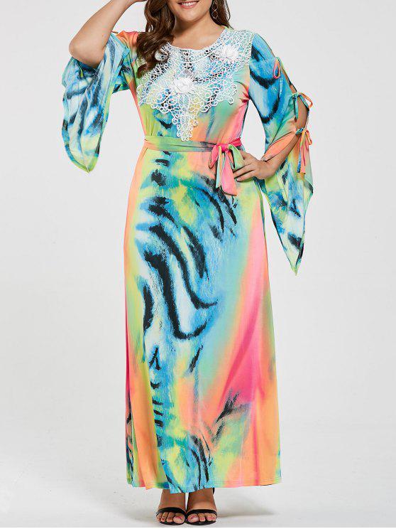 فستان الحجم الكبير انقسام الأكمام طباعة - متعدد الألوان 7XL