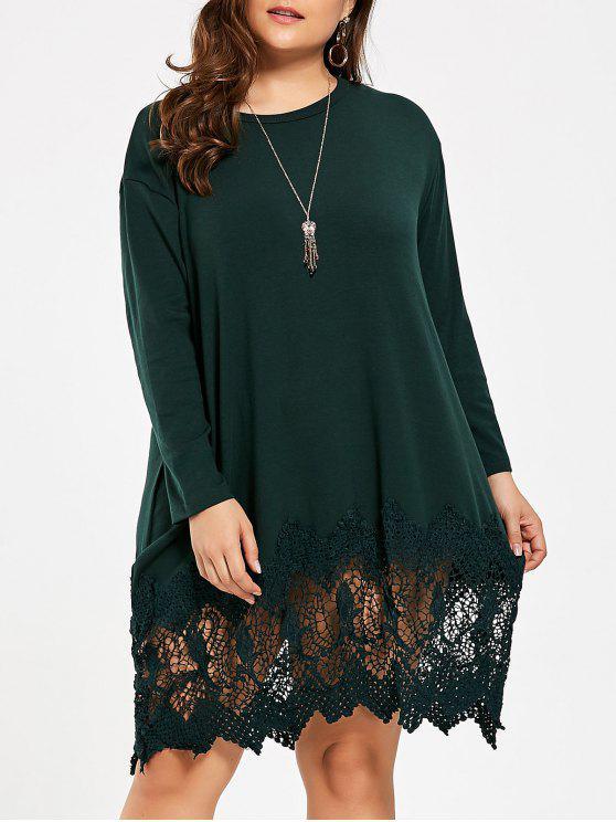فستان الحجم الكبير محبوك تريم دانتيل - ديب غرين حجم واحد