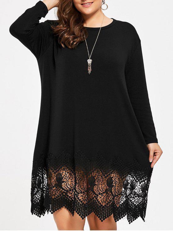 فستان الحجم الكبير محبوك تريم دانتيل - أسود مقاس واحد