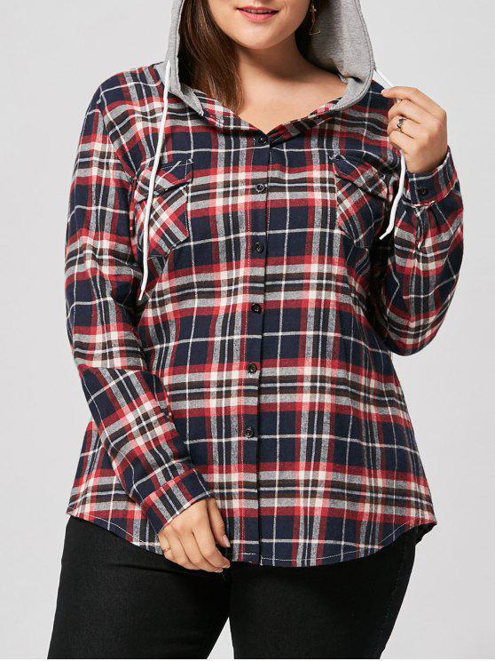 best Plus Size Drawstring Neck Plaid Shirt Hoodie - RED 3XL