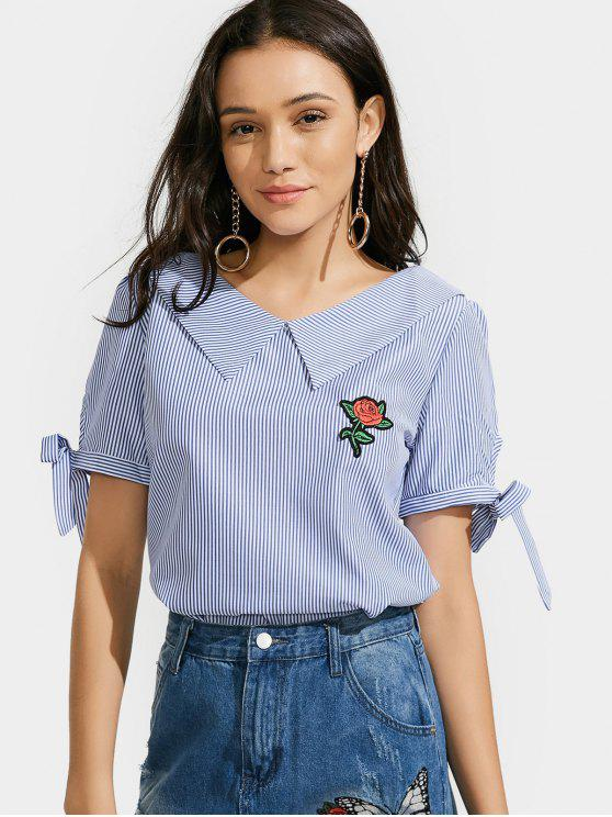 Top con rayas a rayas rosas - Azul M
