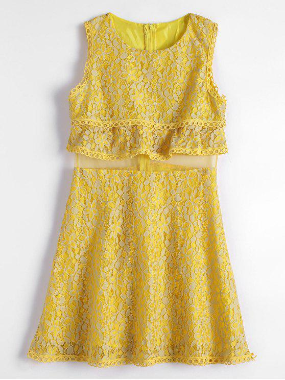 hot Mesh Panel Tiered Flare Lace Dress - YELLOW M