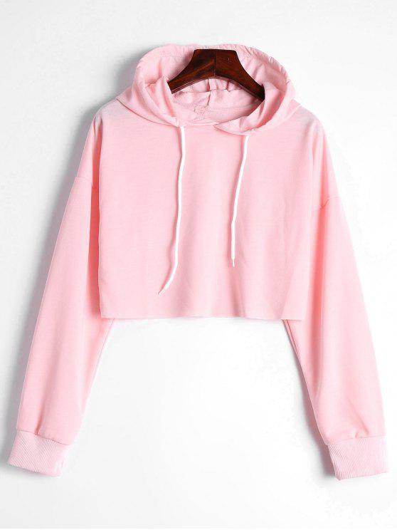 new Drop Shoulder Drawstring Crop Hoodie - LIGHT PINK XL