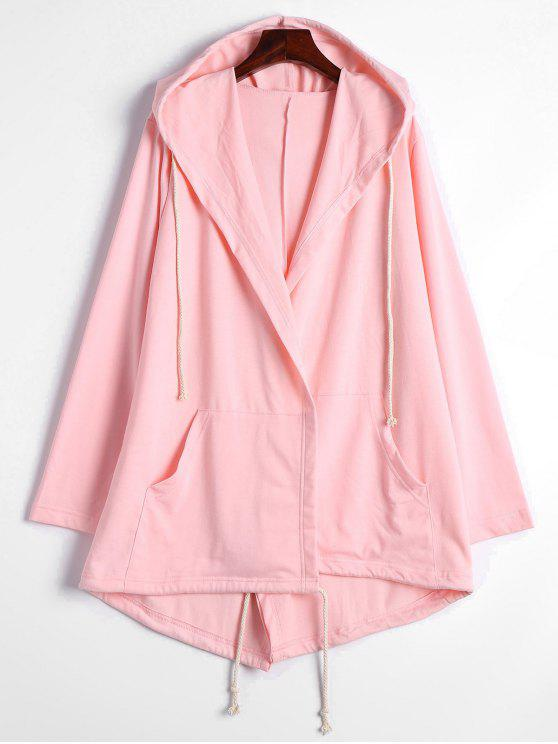 shop Drawstring Hooded Coat with Pockets - PINK M