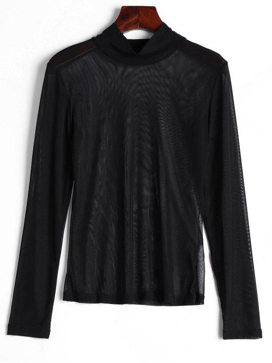 buy High Neck Sheer Mesh Blouse - BLACK M