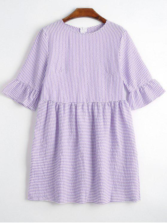 outfit Round Collar Striped Dress - PURPLE M