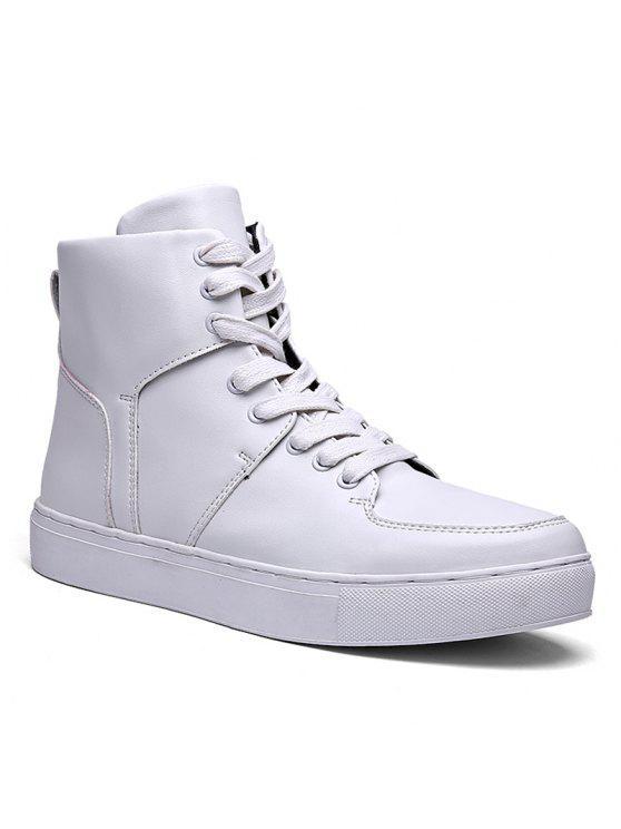 الدانتيل يصل أعلى أحذية رياضية - أبيض 44