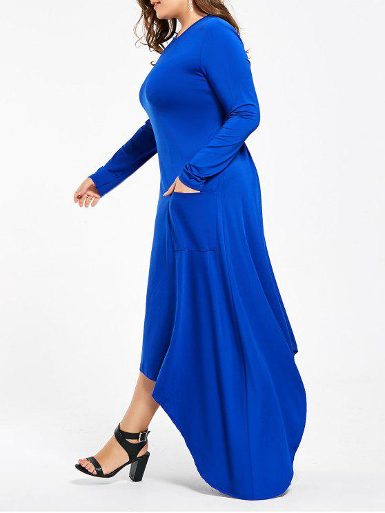زائد الحجم ماكسي فستان طويل الأكمام غير المتماثلة مع جيوب - أزرق XL