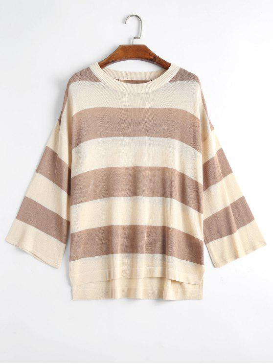 new Plus Size Striped Knit Side Slit Sweater - KHAKI 3XL