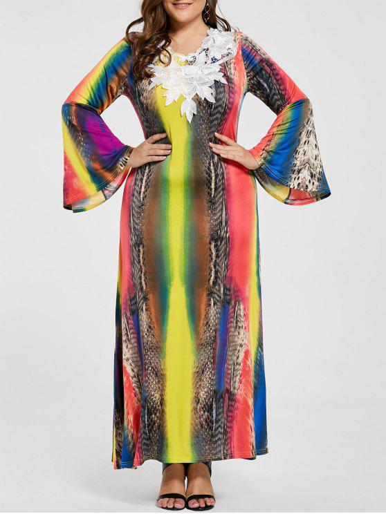 2018 Plus Size Lace Embellished Maxi Gypsy Dress In Multicolor 4xl