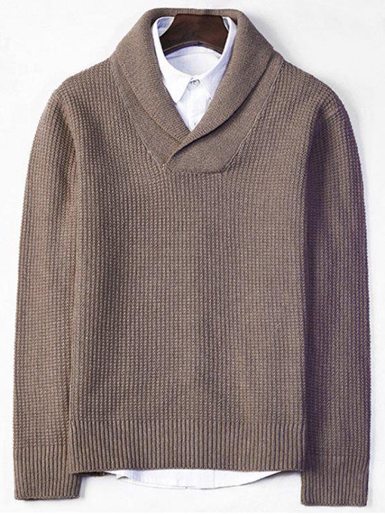 e05a5723f0f3 2018 Shawl Collar Chunky Pullover Sweater In PALE BROWN L