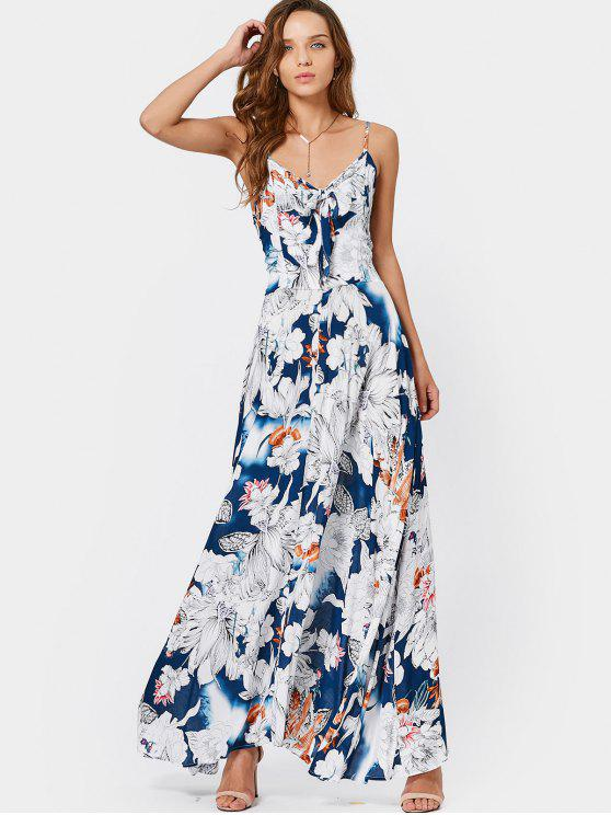 fashion Smocked Bowknot Floral Maxi Dress - FLORAL M