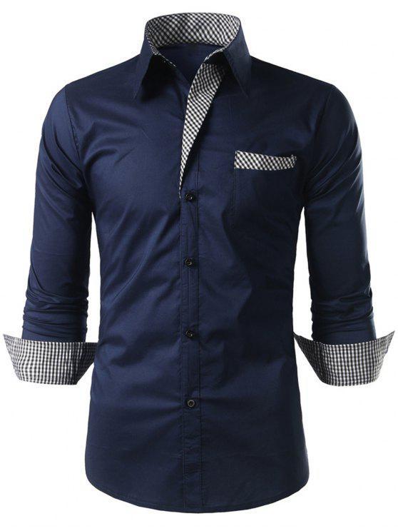 Plaid-trim Langarm-Shirt - Kadettenblau L