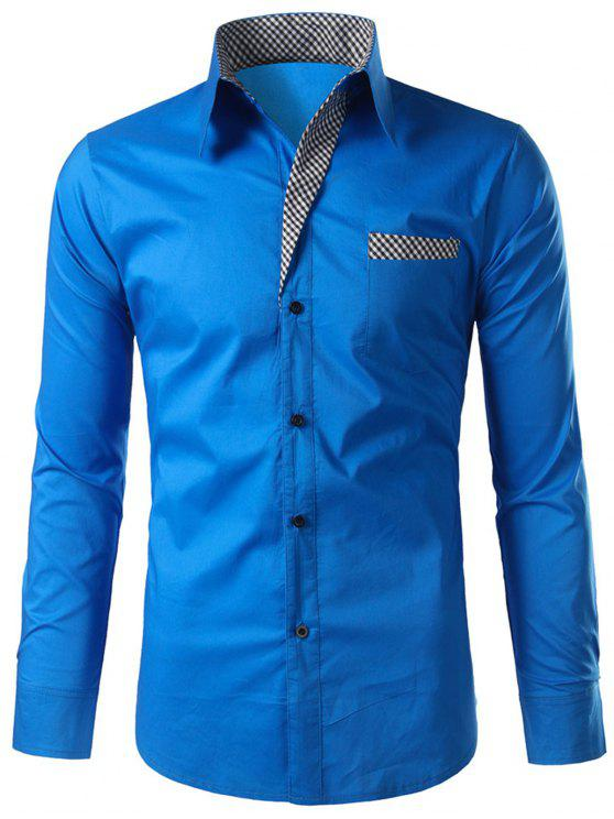 Plaid-trim Langarm-Shirt - Blau M