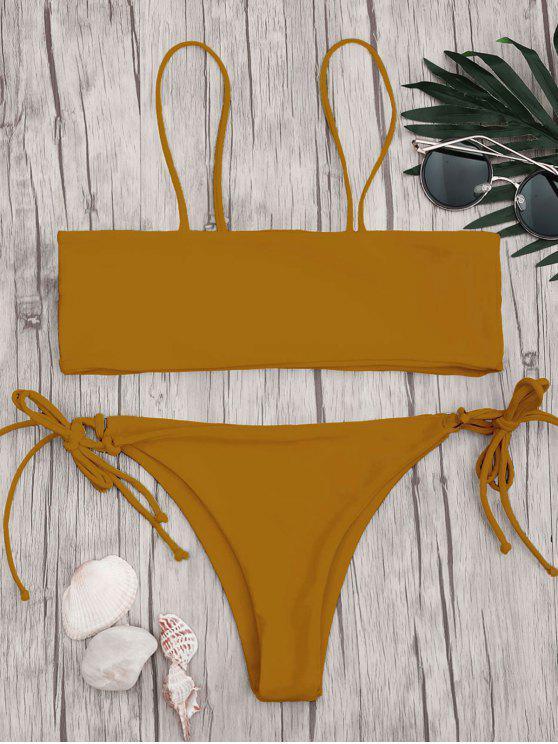 Bikini avec Haut en Bandeau et Slip en String avec Cordons - BRUN S