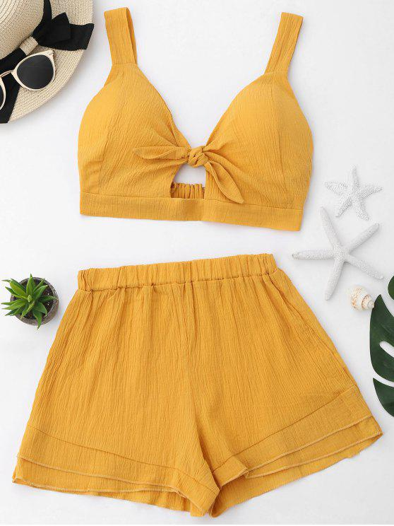 Schlitz Crop Top und Shorts Set - Ingwer-Gelb L