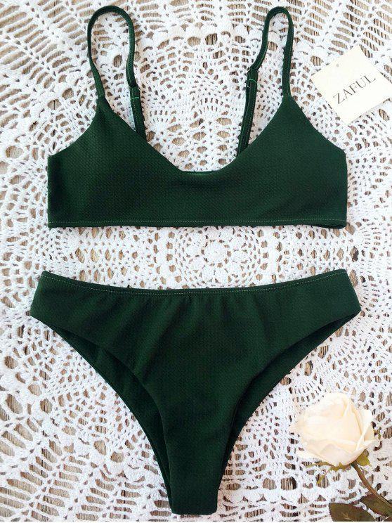 fashion High Cut Bralette Bikini Set - BLACKISH GREEN S