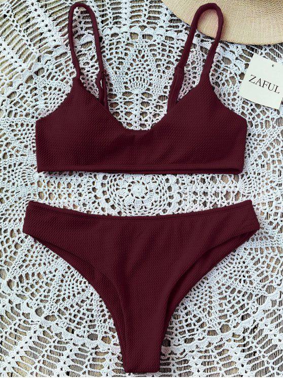 hot High Cut Bralette Bikini Set - WINE RED 2XL