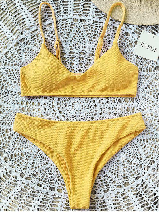 e3b9319e52  MÁS VENDIDOS  2019 Conjunto De Bikini Bralette De Corte Alto en Amarillo  2XL