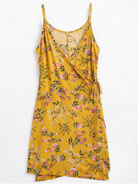 448de1cdca901e 35% OFF  2019 Floral Print Cami Wrap Dress In GINGER