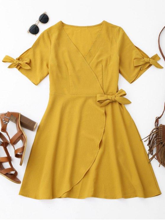 فستان غلاف لف ربطة - زنجبيل L