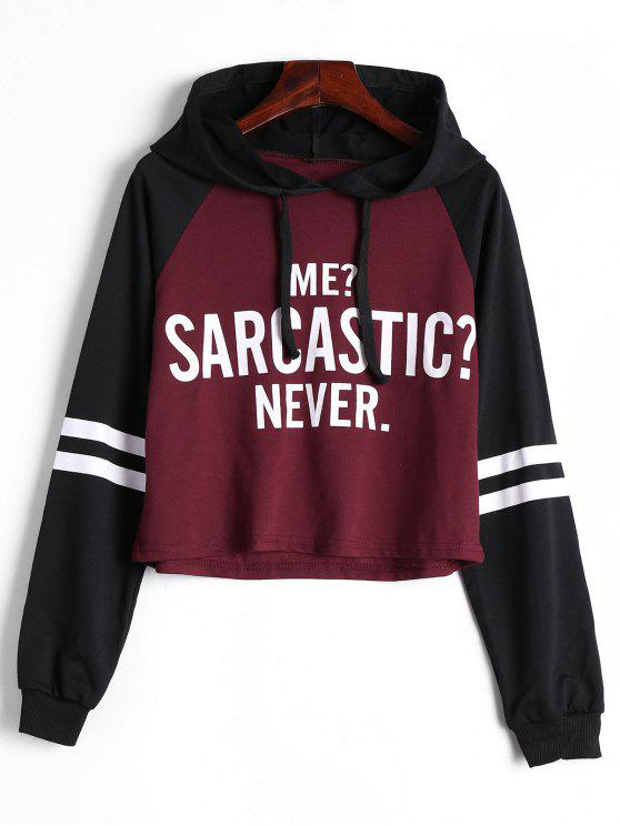 fashion Raglan Sleeve Letter Print Drawstring Hoodie - DEEP RED S
