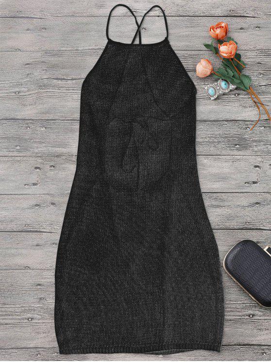 سترابي المئزر الرقبة شاطئ التستر اللباس - أسود مقاس واحد