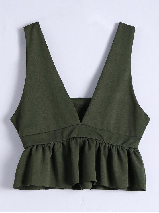 fashion Plunging Neck Ruffle Hem Tank Top - ARMY GREEN S