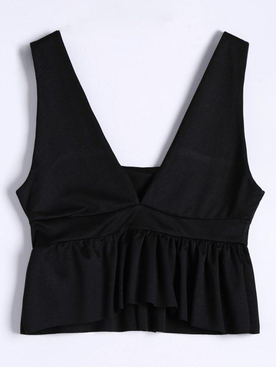 affordable Plunging Neck Ruffle Hem Tank Top - BLACK M