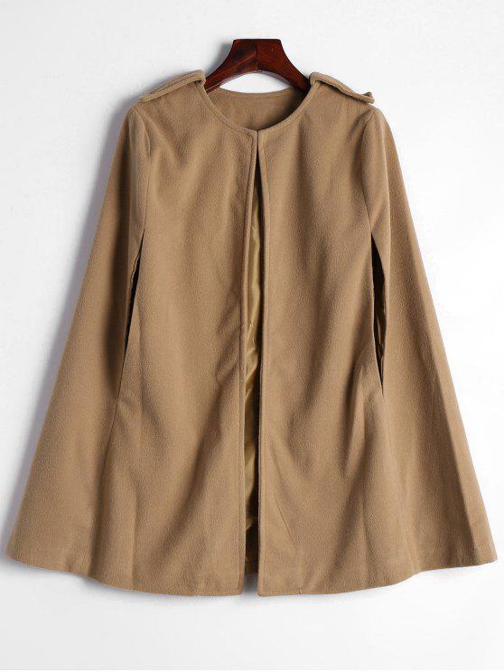 womens Plain Cape Coat - CAMEL S