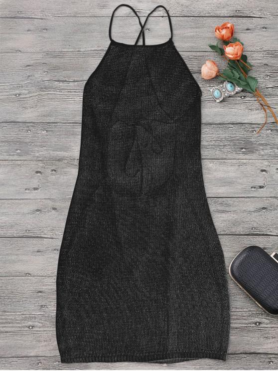 سترابي المئزر الرقبة شاطئ التستر اللباس - أسود حجم واحد