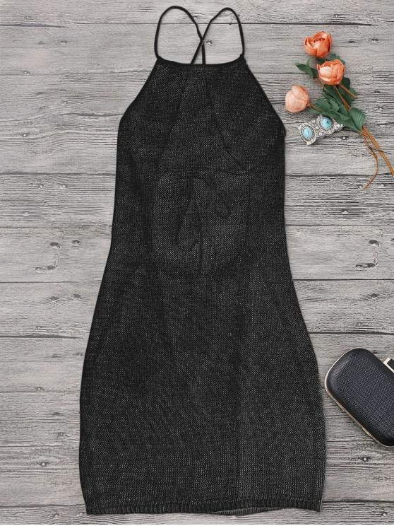 best Strappy Apron Neck Beach Cover Up Dress - BLACK ONE SIZE