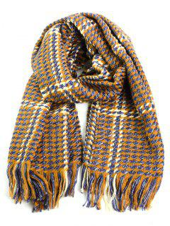 Tiny Checked Fringed Warm Shawl Scarf - Yellow