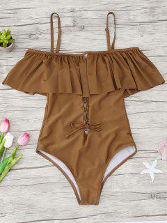 Ruffles Lace Up Backless One Piece Swimwear - Brown M