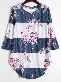 Round Collar Floral Print Contrast Tee - Floral L
